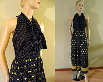 Vintage Maxi Halter Dress, Black and Bumblebee yellow, Arthur Norgaard, small to medium