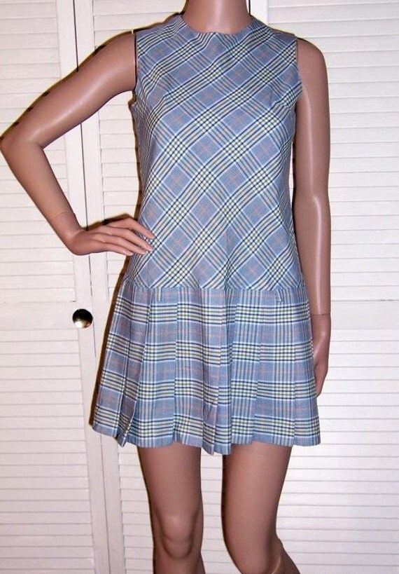 Vintage mod blue plaid mini jumper dress with pleated skirt by Russ, small to extra small