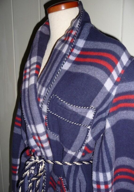 Vintage Mens Heavy Beacon Fabric Plaid Bathrobe, cotton/wool blend