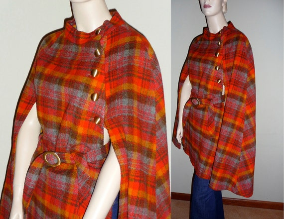 Vintage 60s Wool Plaid Cape, belted, buttoned and lined from Jerold, medium