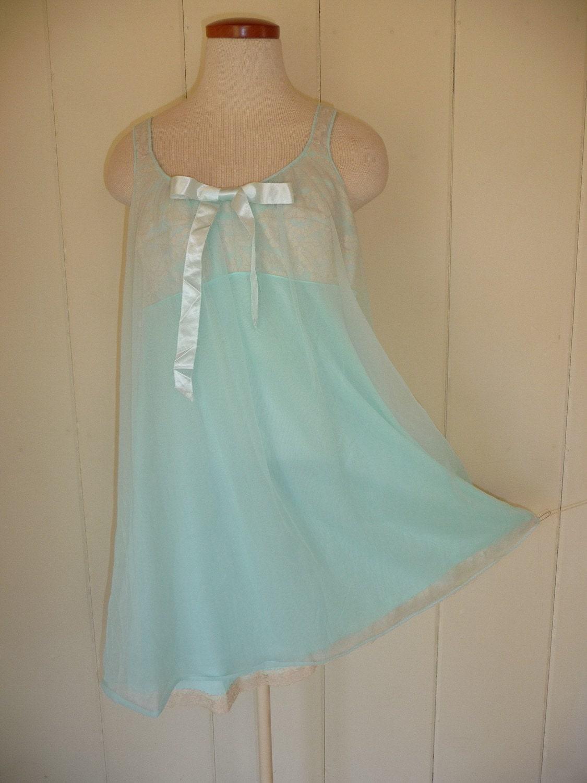Vintage Powder Blue Sheer Babydoll Nightie Size 38