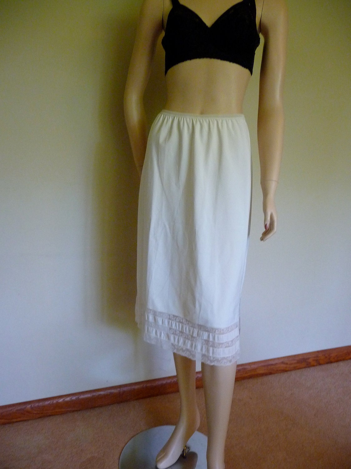 Vintage White Zephaire Batiste Long Cotton Half Slip From