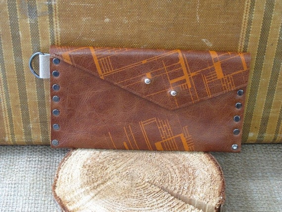 """Anita Wallet (in brown leather with orange """"craft fusion"""" print)"""
