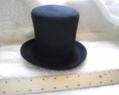 "Black mini top hat-- thick wool felt, 7"" diameter"