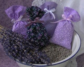 Lavender Sachet Bags tied w/ribbon, set of 4, fabric