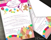 Custom Order for Alyssa: Candy Land Birthday Invitations ,Personalized Invitations, PDF digital file
