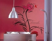 Lotus and dragonfly -- 31.2 inch tall-- Home decor wall art vinyl removable decals stickers