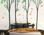 Birch Trees Vinyl Wall Decal Tree Wall Mural Birch Sticker- Super big Four Birch Trees -Removable Vinyl for Bedroom Living Room and Office