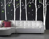 custom for Tracy - On Sale- Six Big Birch Trees with Flying birds- Removable Vinyl Wall Decals, Stickers, Wall Murals