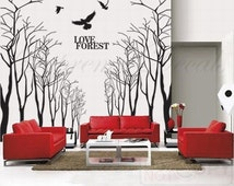 Popular items for living room mural on etsy for Wall stickers for living room malaysia