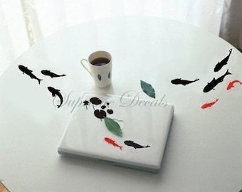 Wall decal -- Black and Red Fish -- Wall Art Home Decors Murals Removable Vinyl Decals Paper Stickers