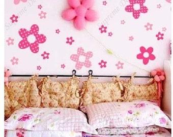 Princess Pink Flowers(30 flowers)-Vinyl Wall Art Sticker Decals-easy installtion