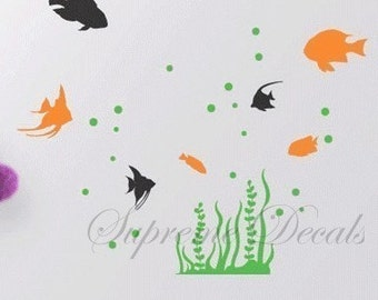 Tropical Fish--Wall Art Home Decors Murals Removable Vinyl Decals Paper Stickers