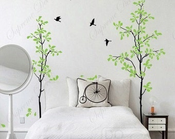 "Wall Vinyl Tree Decal Tree Wall Vinyl Removable Wall Sticker- Happy Time Tree (71"" H) - Custom Tree Wall Vinyl for Living Room Bedroom"