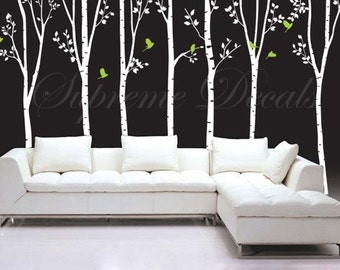 "On Sale- Tree Decals Living Room Trees Wall Decal Office Trees Wall Decors Vinyl Wall Art - 7 Big Cool Trees(88"" H) -Tree Wall Murals"