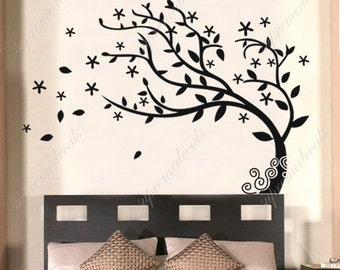 Bedroom Tree Decals Nature Tree Stickers Vinyl Tree Stickers Dancing Tree Decals Flying Leaves - Elegant Tree- Removale Vinyl Wall art