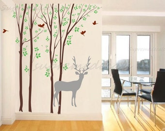 "New design- Forest and Deer(102""H)- Removable Vinyl Wall Decals, Stickers, Wall Murals"