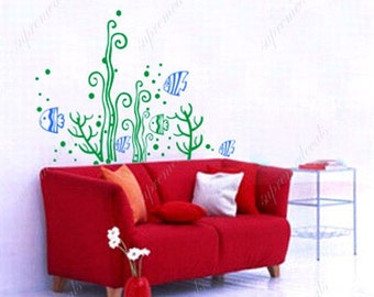 Fish Decal Ocean Wall Stickers Seaweed Stickers - Fish and seaweed - Removable Vinyl Art Wall Decals Stickers for Beach Room