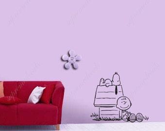 34×23 Enjoying sunshine Snoopy- Kids Wall Decal, Snoopy Stickers, Snoopy Decal, Funny Wall Decal, Removable Decal, Wall Arts PDA-0338
