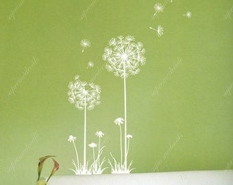 "Floral Decal Flower Wall Vinyls Dandelion - (48"" H)-  Removable Dandelion Vinyls Dandelion Wall Stickers for Bedroom and Living Room"