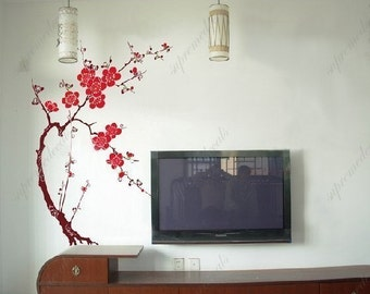 Oriental plum blossom-- 55inch tall -- TV background  Removable vinyl art wall decals stickers murals home decor