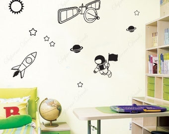 Space Mission - Removable vinyl art wall decals stickers murals home decor