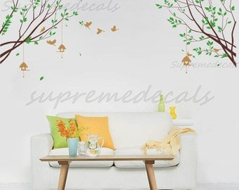 Nature Wall Decals- Spring Branch with Flying Birds - Removable Vinyl Wall Art, Stickers, Wall Murals