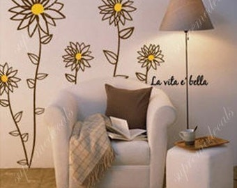 Daisy flowers-- 55 inch tall -- Removable vinyl art wall decals stickers murals home decor
