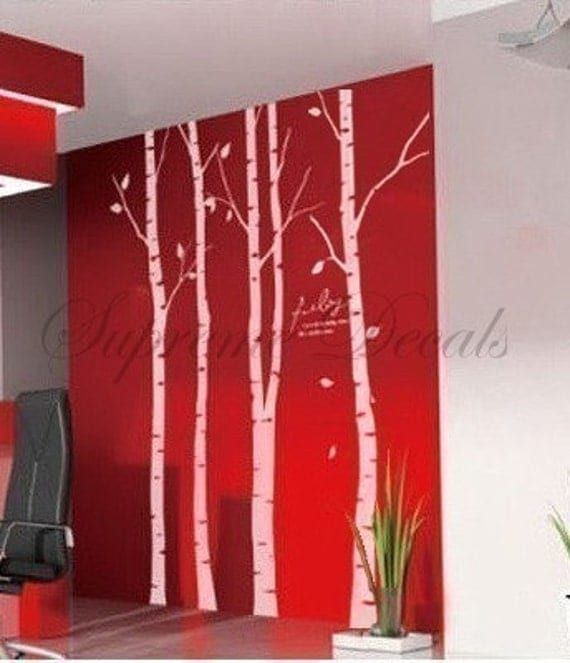 custom for kim wheeler --Set of 4 big birch trees -- 8 feet 6 inch -- Wall Art Home Decors Murals Removable Vinyl Decals Paper Stickers