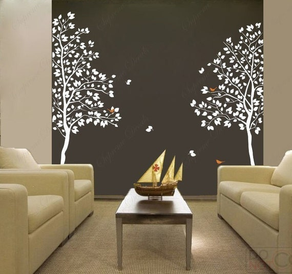custom-listing-White Twin Tree(83inch tall)--  Vinyl Wall art decals graphic for home decor