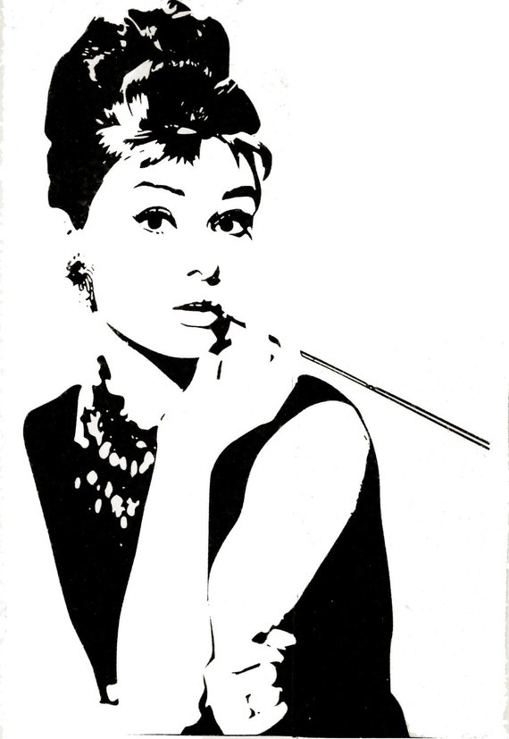 items similar to audrey hepburn 42inch h wall art home decors murals removable vinyl decals. Black Bedroom Furniture Sets. Home Design Ideas