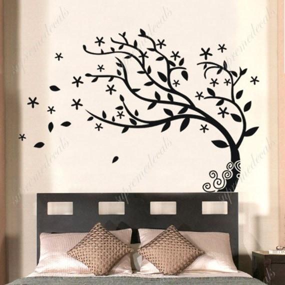 Bedroom Tree Decals Nature Tree Stickers Vinyl Tree Stickers Dancing Tree Decals Flying Leaves - Elegant Tree- Removale Vinyl Wall art