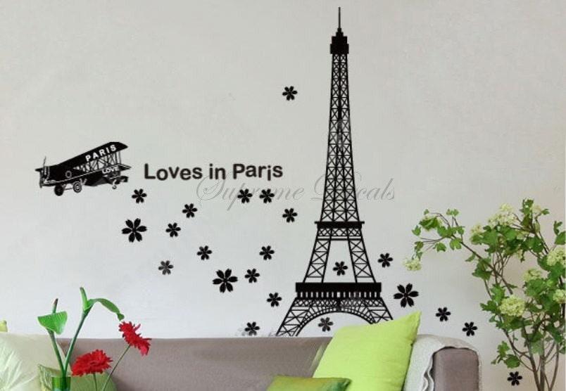 eiffel tower loves in paris wall art home decor vinyl