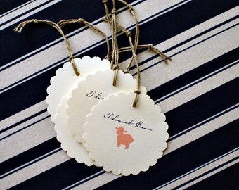 Baa Baa Baby Shower Gift Tags - Little Lamb Thank You (Ewe) Message - Set of 25
