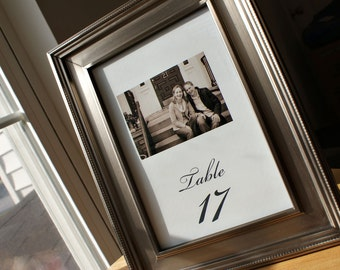NEW - The Kate - Frameable 5x7 Photo Table Number / Cards - Custom Fonts and Ink Colors Available