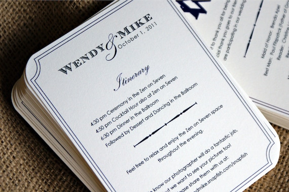 NEW - Mini Wedding Ceremony Program / Info Card for Small / Intimate Affair - Ivory or White - Custom Ink Colors Available - Set of 20