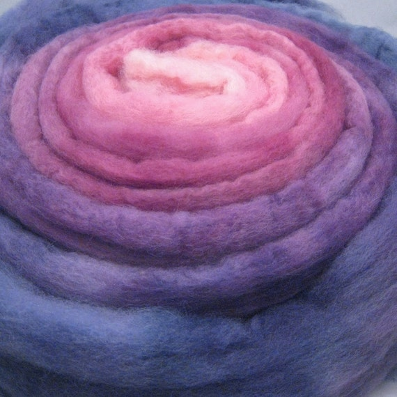 Hand Dyed BFL Wool Top Roving for Spinning  or Felting - Gradient  Sun Orchid 4.0 oz