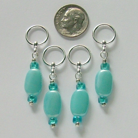 Stitch Markers for Knitting - Set of 4 handmade markers fits needles to size US 10.5 (7mm) Aqua flat ovals with aqua