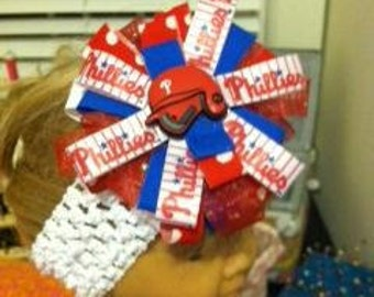 Philadelphia Phillies Hair Bow - Helmet