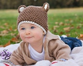 Cafe Brown and Cream Teddy Bear Hat - Adorable Photo Prop Available in 6 sizes