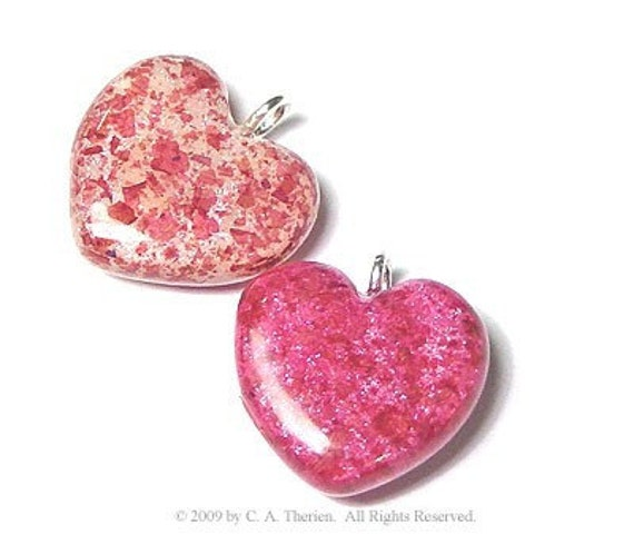Heart Charms, Sterling Silver, 1/2 inch wide, Crushed Flowers, Memorial Keepsakes
