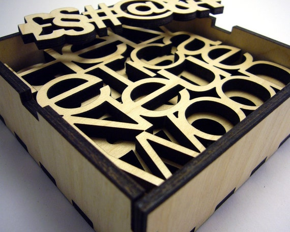 Sans-Serif Type Coasters - Set of 4 wood fonts with Holder