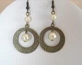 Earrings, Drop earrings, Wedding earrings,Ivory Pearl Earrings, Gift, Mother's day Earrings, Hoop Earrings, Dangle Earrings, Free Shipping
