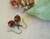 Free Shipping Acorn Earrings, Drop Earrings, Dangle earrings, Vintage Acorn,  Burgundy pearls, Red, gift