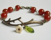 Red Agate Twig Bracelet, Charm, Twig Charm, Brass Twig, Branch, Bangle bracelet, Friendship Bracelet,  Christmas, Free Shipping, Gift