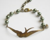 Freedom Bracelet, Swallow Charm bracelet, Cuff, Bird, Green Bracelet, Free Shipping, Gift, Friendship