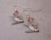 Sparrow drop Earrings, Dangle, pink crystal earrings, Gift, Wedding jewelry, bridal earrings, Silver bird earrings