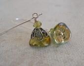 Bella's Flower Drop earrings , Dangle Earrings, Flower Earrings, Silver drop earrings, Light Green Flower Earrings, Gift, Wedding earrings