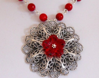 Silver Lace pendant Necklace -Red necklace, red flower,  Silver chain, Free Shipping, Gift