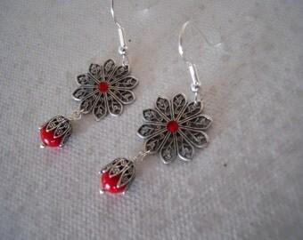 Red Flower Dangle Earrings, Drop, Cluster, Chandelier, Wedding earrings, Silver flower, Gift, red flower